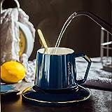Taza De Agua Luz Taza De Café De Lujo De Alta Gama Taza Creativa Taza De Cerámica Con Tapa Regalo 401-500Ml Zaer Cup Treasure Blue (Set De Caja De Regalo)