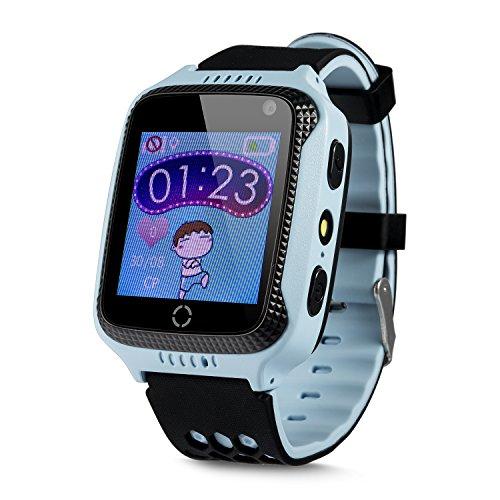 JBC GPS Uhr Abenteurer ohne Abhörfunktion/mit sicherem Deutschen Server, SOS Notruf+Telefonfunktion/Anleitung+Uhr+App+Support: Deutsch (Hellblau)
