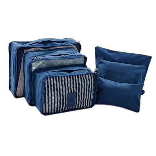 DELEY Voyage Kit Stockage De Vêtements Cosmétique Maquillage Toilette Sac Wash Bag Définir Bleu Foncé