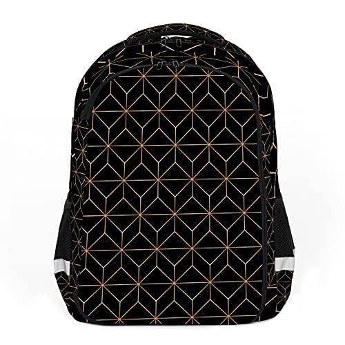 Geometría de línea dorada negra perfecta para mochilas escolares y de viaje, mochilas de estudiantes perfectas para todas las edades
