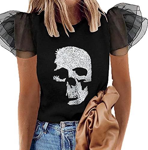 Camisa Elegante para Mujer, Blusas Elegantes Plisadas con Manga Abullonada, Cuello Redondo, Blusas Holgadas De Manga Corta, Blusas Vintage, Camisas para Mujeres