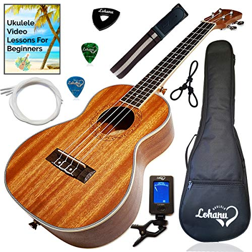 Ukulele Tenor Size Bundle From Lohanu (LU-T) 2 Strap Pins Installed FREE Uke Strap Case Tuner Picks Hanger Aquila Strings Installed Free Video Lessons...
