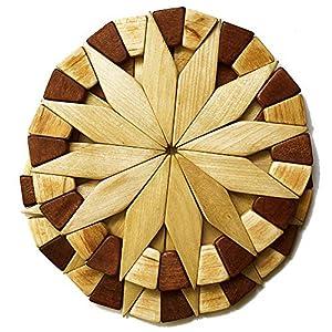 天然木製耐熱鍋敷き2個セット 環境に優しく丈夫で耐久性のあるキッチンホットパッド手作りの華やいだデザイン テーブル装飾 - キッチンギフトにぴったり Ecosall製品