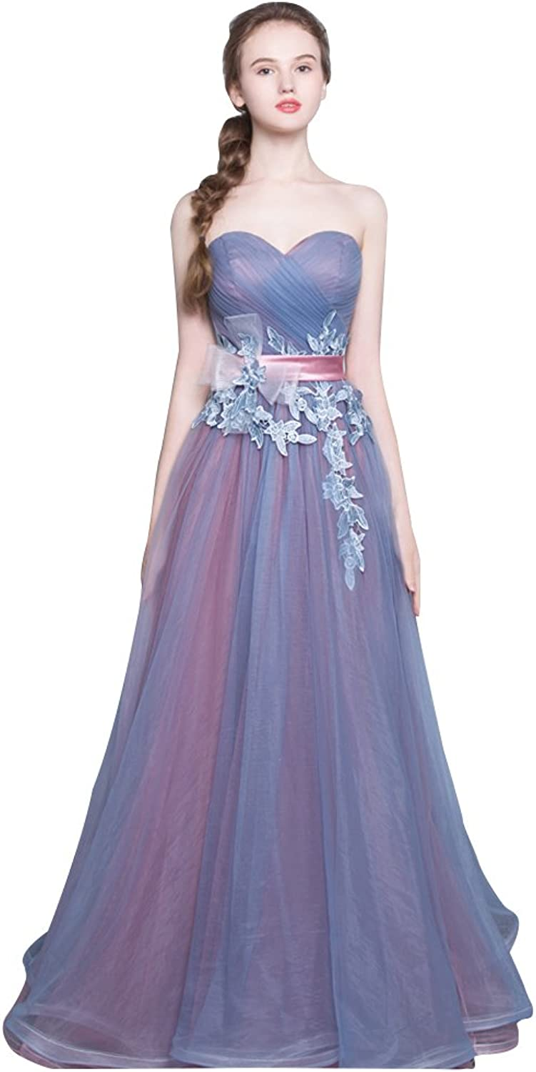 BeautyEmily Strapless Ruffles Tiered Lace Tulle Pink Bridesmaid Dress
