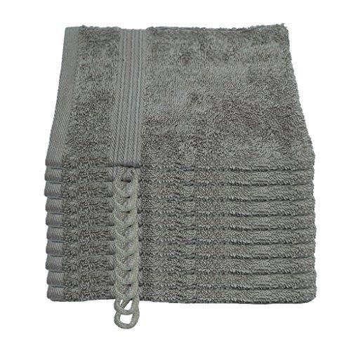 Julie Julsen Lot de 10 gants de toilette sans produits chimiques - 600 g/m² - Gris argenté - 15 x 21 cm - 100 % coton - Certifié Öko-Tex Std 100 - Doux et absorbant - Lavable en machine