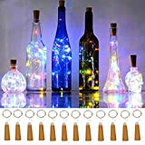 Wine Bottle String Lights,12 Pack 20 LEDs AAA Battery Powered Multicolor Wine Bottle Cork Stopper Lights for Bottle DIY,Table Decorations,Christmas,Wedding, Party,Study,Bar Decoration.