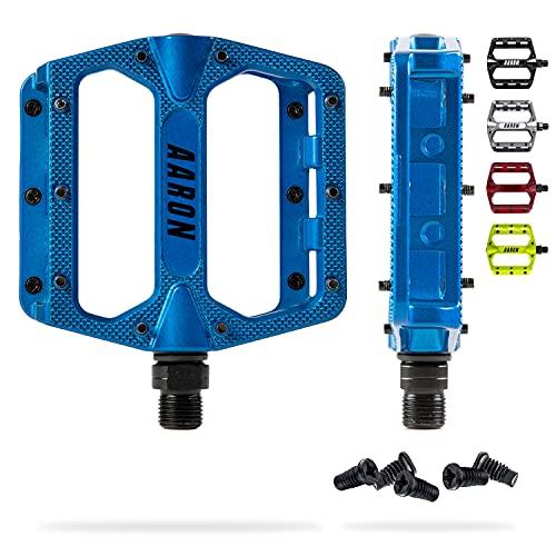 AARON Rock MTB Pedale aus Alu mit abgedichteten Industrie-Kugellager, rutschfest durch austauschbare Pins, Plattform Fahrradpedale für E-Bike, BMX, Trekking, blau