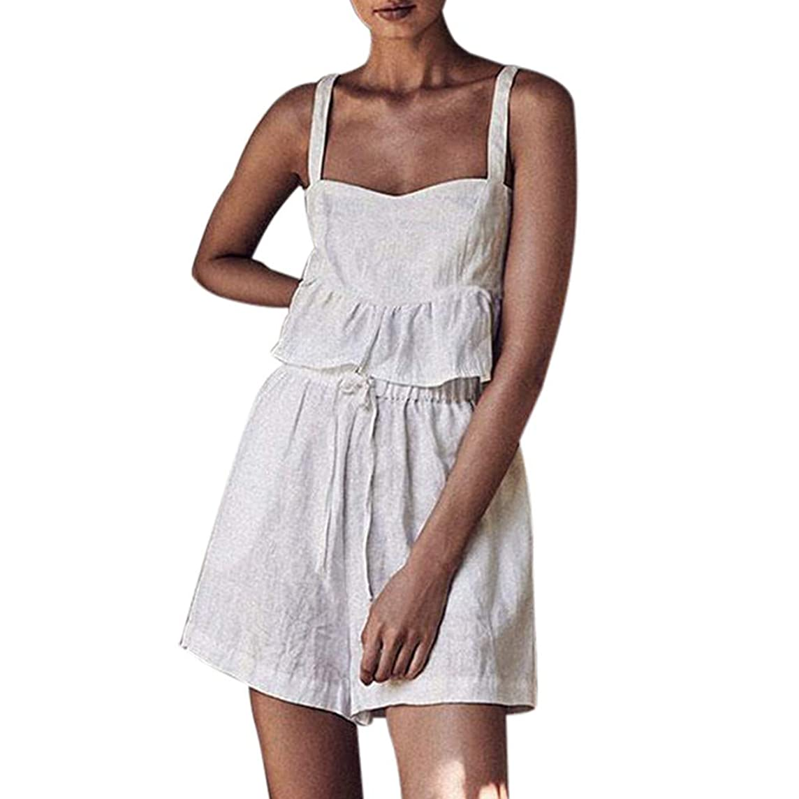 2Piece Womens Sexy Summer Outfits Set,Sleeveless Strappy Cami Ruffle Back Smocked Crop Top Drawstring Shorts Suit