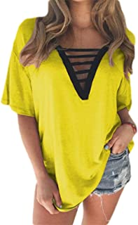 UUGYE Women's Solid Sleeve Short V Summer Neck Plus Size Tops Blouse T Shirts