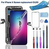 YPLANG For iPhone X フロントパネル 液晶パネル 画面交換 、修理用交換用OLED - 液晶パネルセット、ガラス交換、修理工具付き、画面保護フィルム付属 (iPhone X ブラック) …
