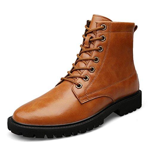 Botas planas de moda para hombres con forro de algod¨®n casual invierno l¨ªnea cl¨¢sica con discapacidades , 43 , light brown.