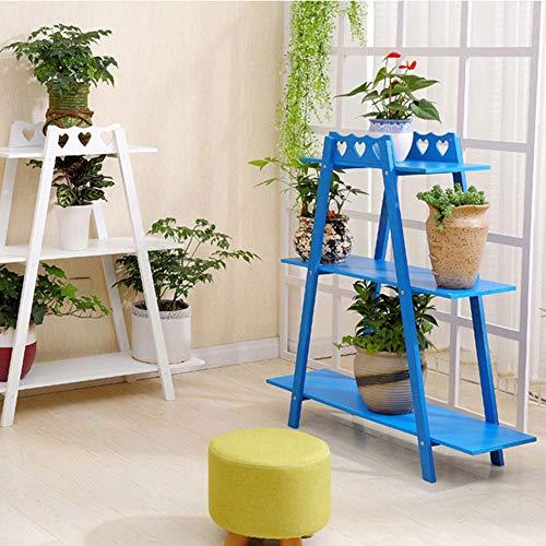 YINUO Green Luo suspendu orchidée stand maison nouvelle en bois massif simple rack intérieur salon simple multicouche offre spéciale étagère à fleurs (Color : Blue)