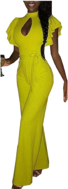 HTOOHTOOH Womens Sexy Ruffle Sleeve Keyhole Front Jumpsuit Romper