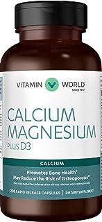 Vitamin World Calcium Magnesium Plus Vitamin D3 250 Capsules, Promotes Bone Health, Mineral Supplement, Rapid-Release, Glu...