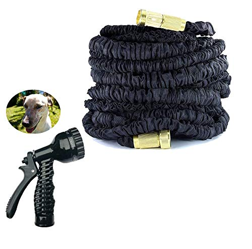 200FT Auto Stretch Hose Black Flexible Extendable Compact with Copper Connector, Garden Hose Pipe Sprinkler Lawn Washing Car Pet Flower