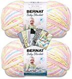 Bernat Baby Blanket Yarn - Big Ball (10.5 oz) - 2 Pack Bundle with Patterns (Pitter Patter)