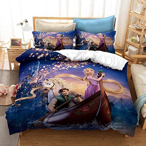 POMJK Rapunzel - Juego de ropa de cama para niña, con cremallera, 140 x 210 cm + 80 x 80 cm x 2