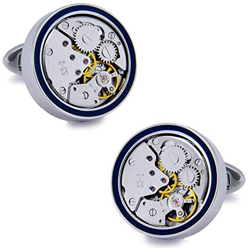 HYL0 Gemelos con movimiento mecánico para reloj de pulsera, color negro, con tapa blanda ZZBiao (color: chapado en platino)