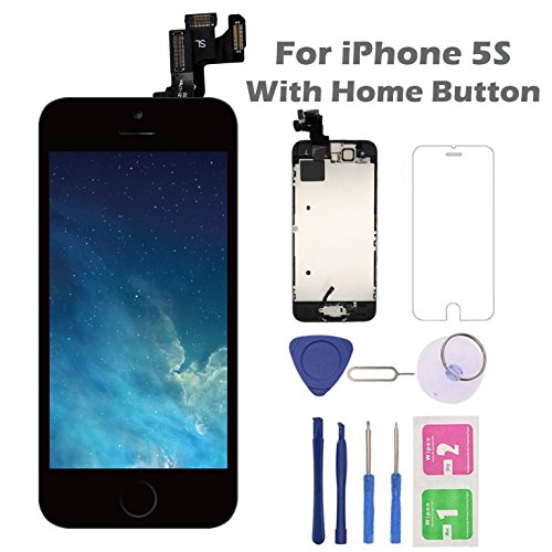 for iPhone 5S Screen Replacement with Home Button, Arotech 4.0 Inch Full Assembly LCD Display Digitizer Touch Screen with Repair Tool Kit and Tempered Glass (Black)