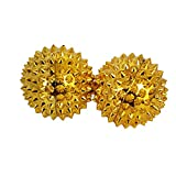 Healing Angel 2 PC Durable Plastic Spiky Metal Coated Deep Tissue Hand Massage Balls for Acupressure Reflexology and Magnet Therapy (Gold-FBA, 1.5 Inch)