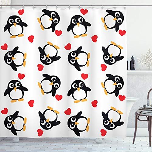 ABAKUHAUS Pinguin Duschvorhang, Romance Herzform, mit 12 Ringe Set Wasserdicht Stielvoll Modern Farbfest & Schimmel Resistent, 175x240 cm, Senf Weiß Schwarz Rot