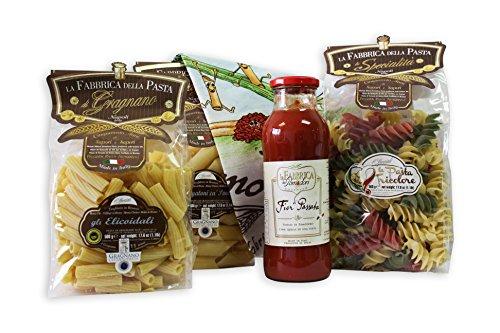 Großes Pasta Geschenkset 3x 500g Pasta di Gragnano, 680g passierte Tomaten und Italien Geschirrhtuch