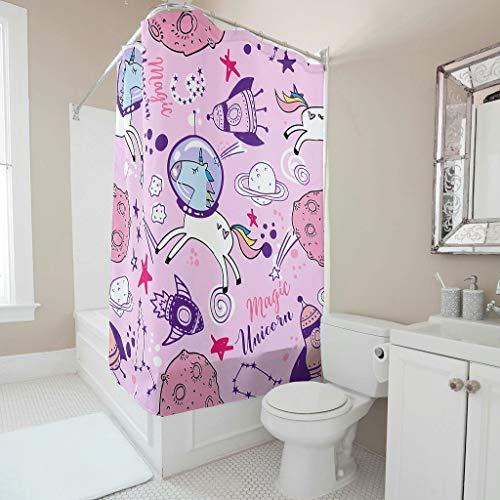 Sweet Luck Einhorn Planet Duschvorhang Anti-Schimmel Wasserdicht Waschbar Stoff Duschvorhänge Polyester Textil Badvorhänge mit Vorhanghaken für Badezimmer White 120x200cm