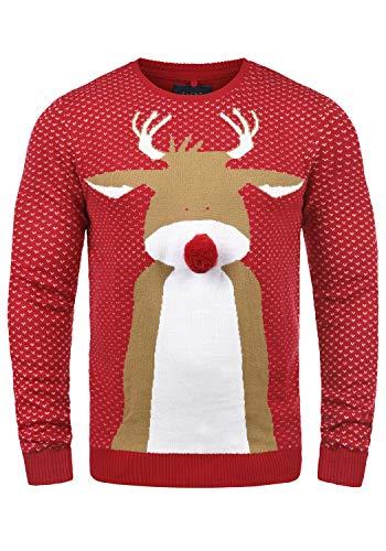 Blend Rudolph Herren Strickpullover Weihnachtspullover Mit Rundhalsausschnitt, Größe:L, Farbe:Nova Red/Nose (73858)