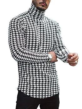 Gafeng Mens Slim Fit Turtleneck/Crewneck T Shirt Houndstooth Printed Lightweight Workout Tunic Top