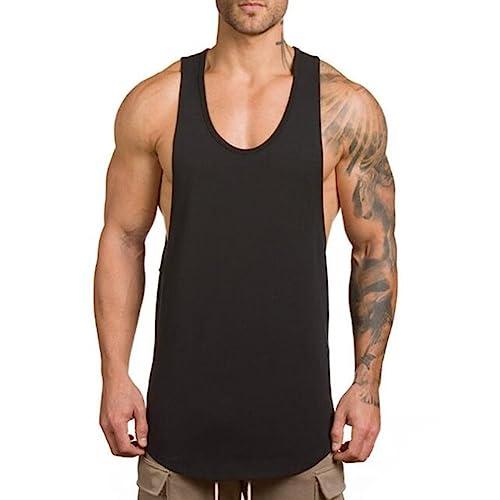 307bc0199803b ZUEVI Men s Muscular Cut Open Sides Tank Tops Bodybuilding T-Shirts(Black-XL