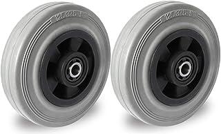 Set van 2 wielen 125 mm rubber grijs-spoorloze rollagers met asaccessoires M10