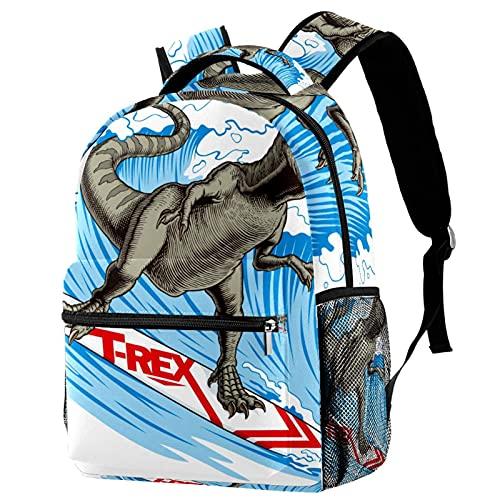Mochila de viaje para portátil, bolsa de trabajo, ligera, T-REX, dinosaurio, surf, negocios, mochila escolar, regalos para hombres y mujeres