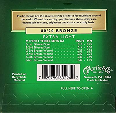 Martin M170 80/20 Bronze Acoustic Guitar Strings, Extra Light - 3 Pack with Picks