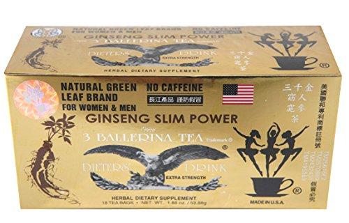 Ginseng Slim Power 3 Ballerina Tea - 18 Tea Bags (For Women & Men)