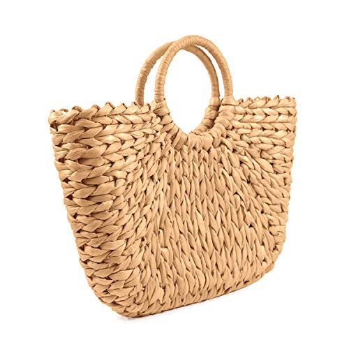"Material:natural corn husks and rattan Textile lining Size:14.9""Lx2.1""Wx12.2""H(with handle) 100% hand made and natural,the top-handle bag is big enough to meet your daily needs,such as phone,wallet,sun-glasses,some cosmetics,etc Strongly recommended ..."