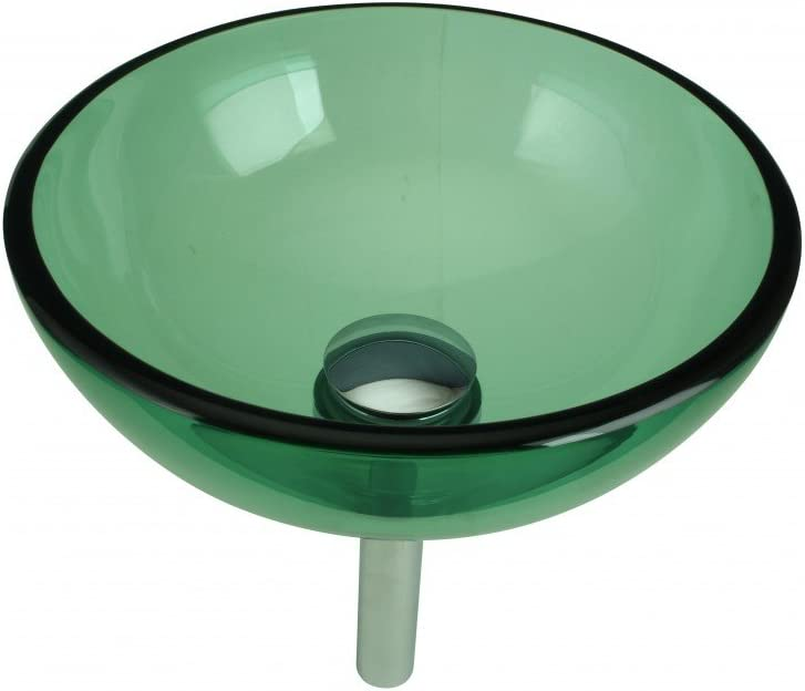 Tempered Cheap mail order sales Max 68% OFF Glass Vessel Sink With Round Drain Green Bo Mini