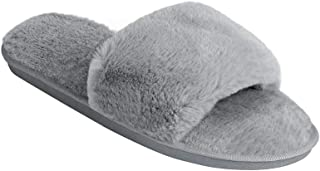 Women's Plush Fuzzy Fluffy Furry Fur Slides Slip on Spa Indoor Outdoor Sandals Slippers for Women