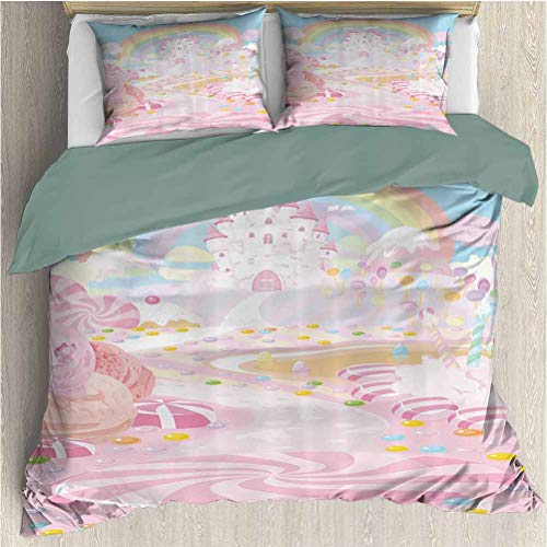 Waynekeysl Teen Girls Duvet Cover Bedding Set, Lollipops on The Road to Fairy Kingdom Colorful Rainbow in The Clear Sky, Decorative 3 Piece Bedding Set with 2 Pillow Shams, Full Size, Pink Blue