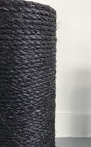 Pettine di ricambio, colore nero, per tiragraffi, di qualità, 12 cm Ø e 60 cm lunghezza, filettatura M8, in sisal RHRQuality, tiragraffi di ricambio per gatti.