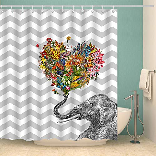 Minimalistische Linie Elefanten-Luftballons Duschvorhang Badezimmer Vorhang Wasserdicht Duschvorhang & Umweltschutz Kunst Dekoration 180 x 180 cm