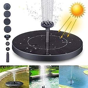 Fuente Solar Bomba, Fuente de Jardín Solar Panel y Solar Flotante con 6 boquillas, Solar Fuente Bomba para decoración de…