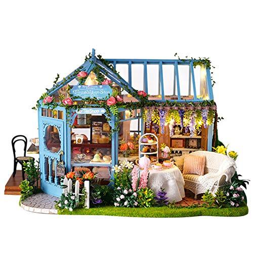 DIY Mini Puppenhaus aus Holz Möbel-Set, Rose Garden Tea House - Handgemachte Cottage Hut Kleines Haus mit Music Box - für Montage Geburtstags-Geschenke