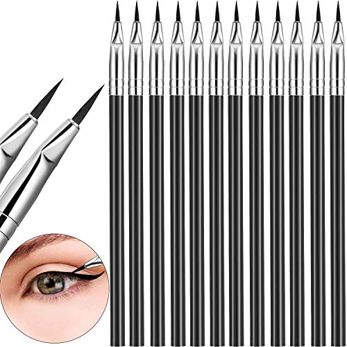 12 Pieces Angled Eyeliner Brush Gel Liquid Thin Makeup Tapered Brush Fine Bent Angle Lightweight for Quick Makeup Tool