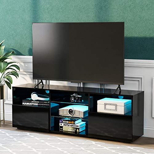 TETHYSUN TV-Lowboard mit LED-Beleuchtung, Fernsehschrank Hochglanz Lowboard Fernsehschrank mit LED MDF in weiß Hochglanz, 130cm