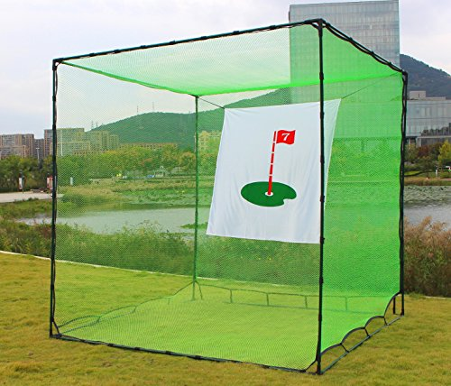 Gagalileo Golf Cage Golf Hitting Net Double Backstop with Target Training Aids Automatic Ball Return Net for Backyard 10x10x10FT