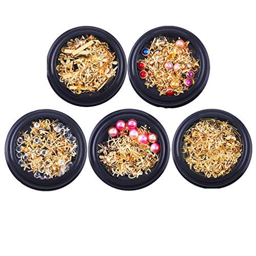 Minkissy 5 Pcs Clous à Ongles en Métal Or Étoiles Lune Rivets à Ongles Ensemble Cristaux à Ongles Ongles Bijoux Décorations Kit de Manucure (Motif Aléatoire)