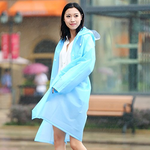 Vestes anti-pluie QFF Adulte Raincoat Femelle Long Section Siamois Outdoor sur Pied Escalade Tourisme Homme Transparent Big Hat Waterproof Poncho (Couleur : Bleu, Taille : L)