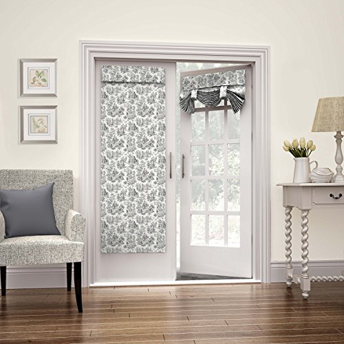 """WAVERLY Room Darkening Curtains for French Door - Charmed Life 26"""" x 68"""" Thermal Insulated Single Panel Glass Door/Patio Door Window Curtain for Privacy, Onyx"""