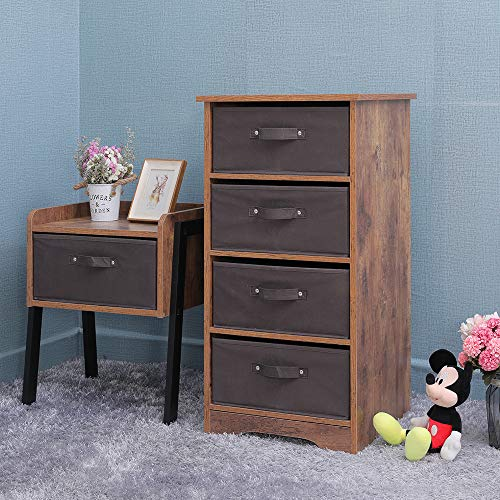 IWELL 4-Tier Drawers Chest, Floor Storage Cabinet with Removable Drawer, Wooden Dresser Storage Tower for Small Rooms, Living Room, Bedroom, Closet, Hallway, Rustic Brown SNG004F