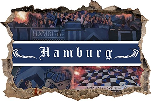 Ultras Hamburg Collage, 3D Wandsticker Format: 62x42cm, Wanddekoration